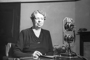 Eleanor Roosevelt had a lengthy career as a radio commentator with her own weekly show. She is seen here giving a radio broadcast on the BBC. (BBC)