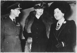 Eleanor Roosevelt welcomed by England's King and Queen, October 1942. (FDRL)