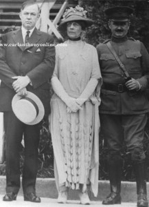 Charles Forbes, Florence Harding and an unidentified U.S. Army official outside of Walter Reed Hospital.