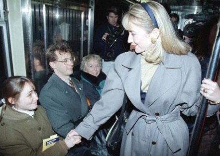 Hillary Clinton campaigning on a New York City subway before the New York primary in March of 1992. (politico.com)