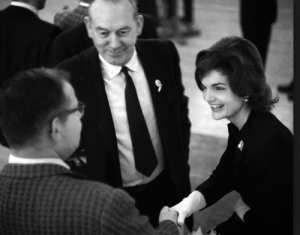 Jacqueline Kennedy campaigning in Eau Claire during the Wisconsin primary, on February 26, 1960 (uwec.org)
