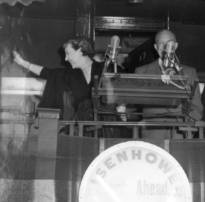 Mamie EIsenhower was as popular a figure as her husband during his 1952 whistlestop campaign tour.  (wvculture.org)
