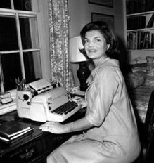 "Jackie Kennedy writing her ""Campaign Wife"" column. (pinterest)"
