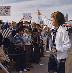 Betty Ford making a 1976 campaign trip. (Gerald R. Ford Presidential Library)