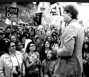Jack Ford campaigning for his dad, 1976. (Ford Library)