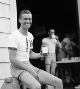 FDR, Jr. on the Harvard rowing team. (Boston Public Library)