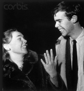 Julie Nixon at Smith College a year before her father was elected President, with her fiancé David Eisenhower. (Getty(