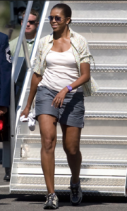 Mrs. Obama at the start of a mountain vacation. (Getty)