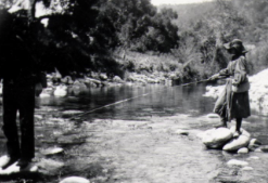 Warren Henry fishing in the northern California mountains with his very young daughter Lou. (HHPL)