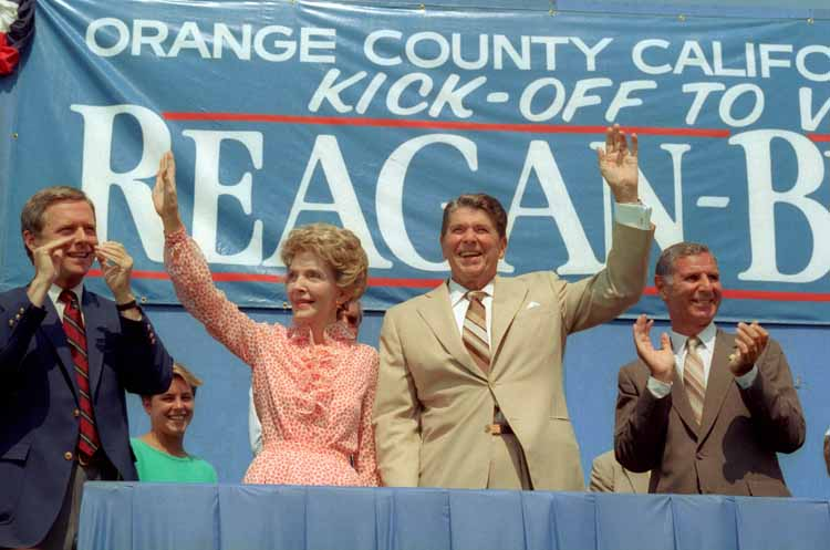 Nancy Reagan with her husband making a joint 1984 campaign appearance. (Reagan Presidential Library)