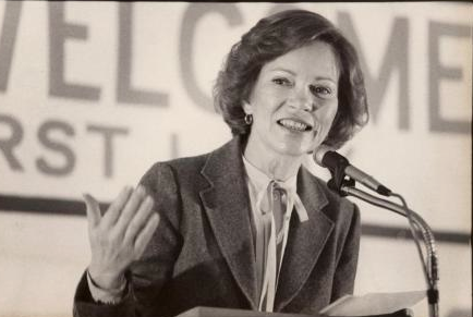 During the 1980 primaries, Rosalynn Carter largely substituted for her husband. (mainememory.net)