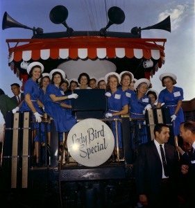 Lady Bird Johnson during her 1964 campaign train tour of southern states. (LBJ Library)