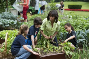 Mrs. Obama with students in her South Lawn vegetable garden. (WH)