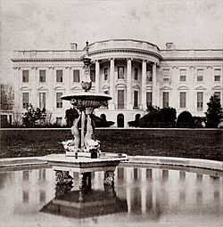 The South Lawn with a new fountain, photographed in 1868.