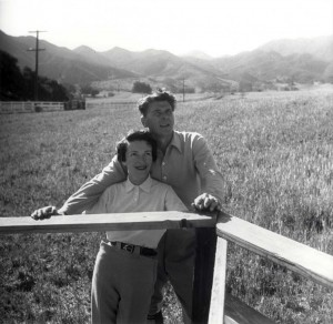 """Nancy Reagan and her husband on the second of three """"Reagan ranches."""" (savethemeadow.com)"""