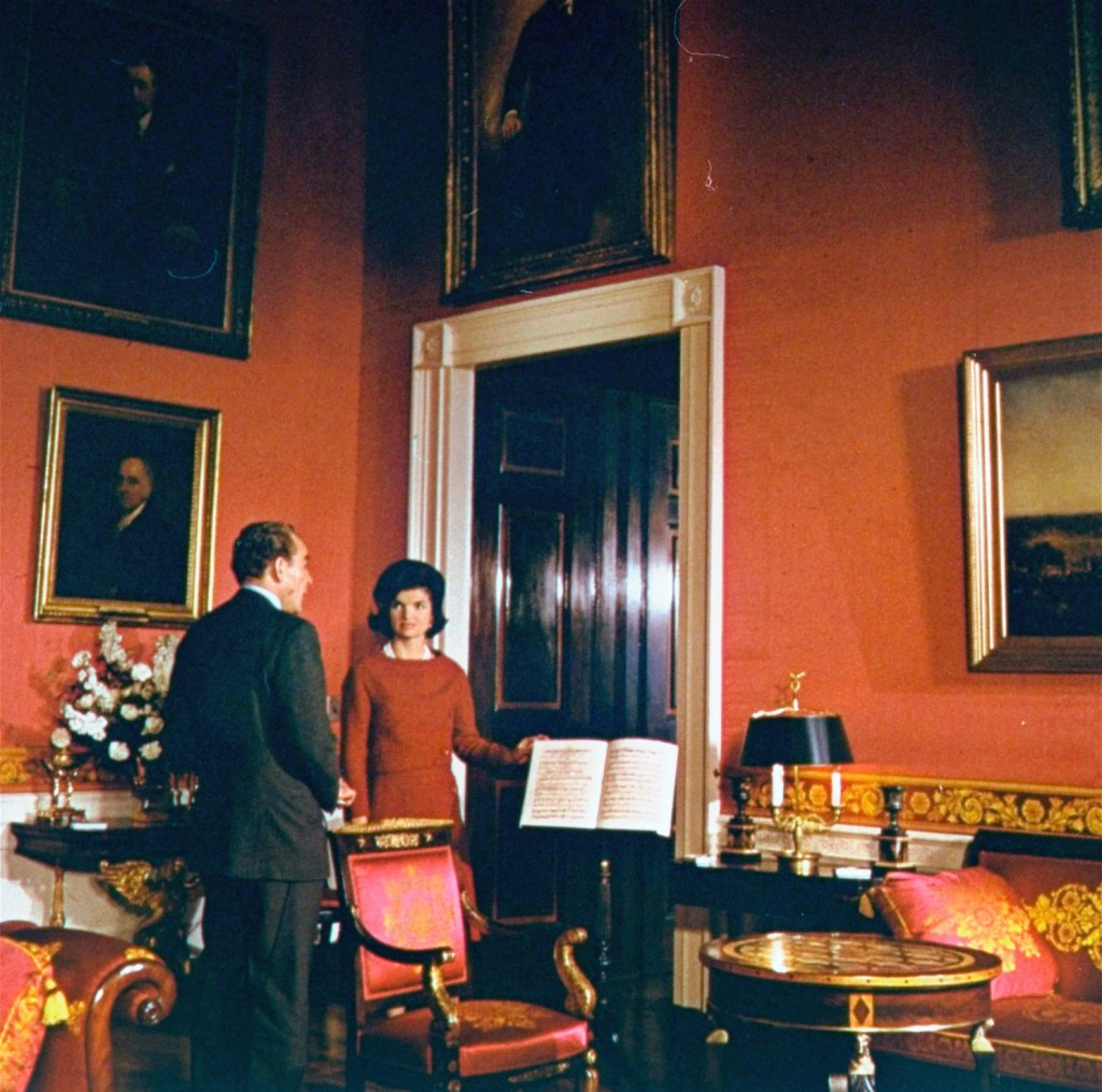 Jacqueline Kennedy in the Red Room, following her restoration of the mansion. (CNN)