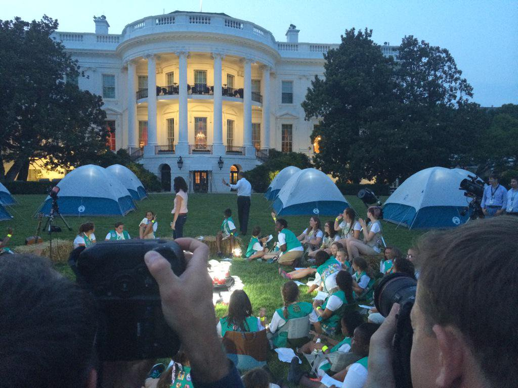Under Michelle Obama's sponsorship, Girl Scouts camped out on the White House South Lawn for the first time in history. (The White House)