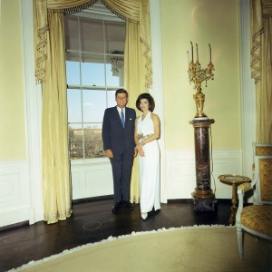 The Kennedys in the second floor Yellow Oval Room. (JFKL)