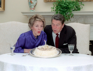 The Reagans celebrating their 30th wedding anniversary in the White House, 1982. (RRPL)
