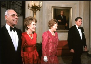 The Reagans hosting British Prime Minister Margaret Thatcher and her husband Denis at their final state dinner. (CNN)