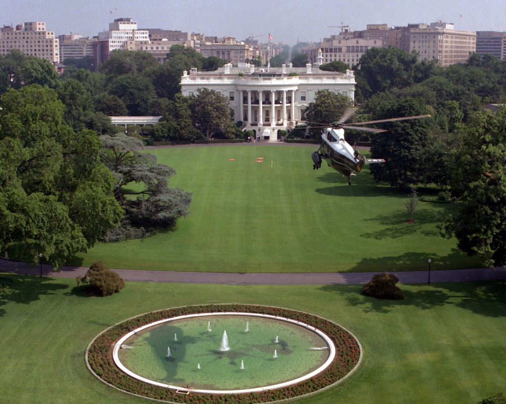 A helicopter view of the South Lawn. (WH)