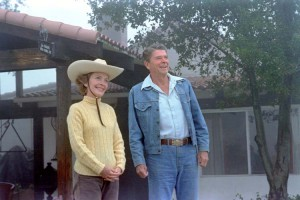 The Reagans in western gear outside their ranch. (RRPL)