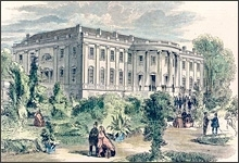 A colorized engraving of the White House South Lawn from 1855, during the Pierce presidency.