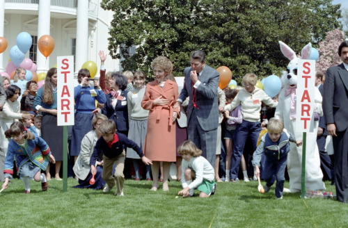 The Reagans at the 1983 annual White House Easter Egg Roll, by then a tradition over a century old. (RRPL)