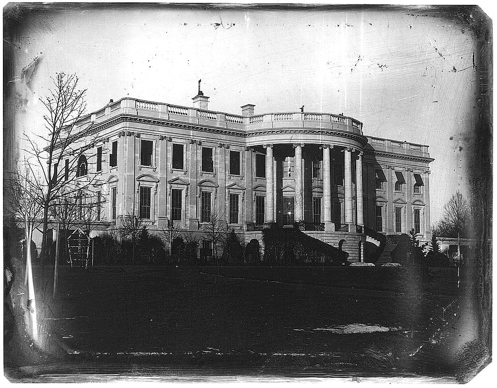 The first photograph showing the South Lawn of the White House, 1840's.