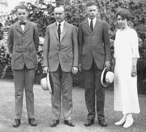 Cal, Jr., President Coolidge, John and Grace Coolidge. (Library of Congress)