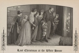 This print showing Edith Roosevelt, second from left, with her family during the 1908 Christmas season actually depicts the children as much younger than they were by that time. (NPS)