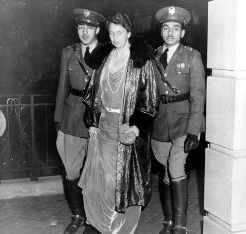 This 1936 image of Eleanor Roosevelt being escorted by two African-American men as she visited the campus of Howard University was used by segregationists in pamphlets intended to protest her revolutionary efforts towards racial equality; conversely it was circulated among the black community as a hopeful sign of improved conditions. (LC)