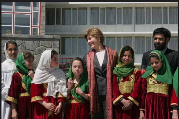 Although not directly involved in any of the policy matter related to the Afghanistan War, Laura Bush became publicly associated with the renewal of women's lives there in a wide variety of efforts, from education to professional training.  (GWBPL)