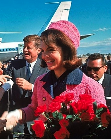 Jacqueline Kennedy's familiar, and now, iconic pink a suit worn at the moment of President Kennedy's Dallas assassination in 1963. (JFKL)