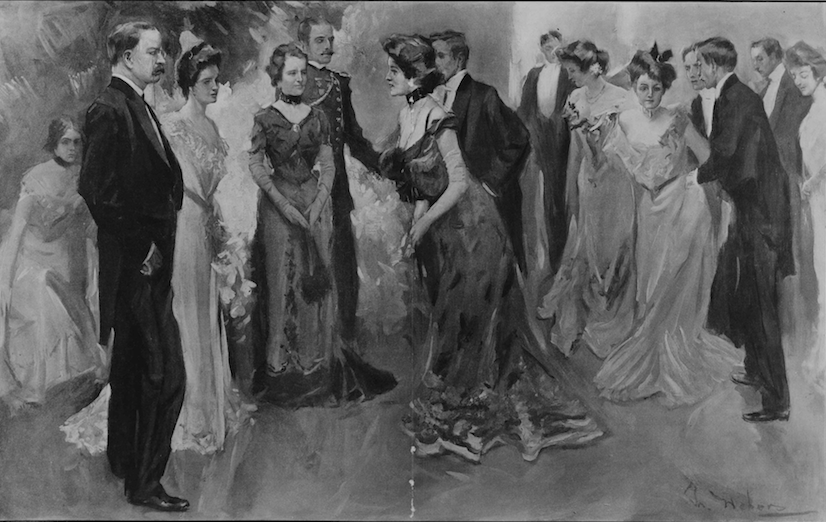 A Leslie's Illustrated Newspaper depiction of Alice Roosevelt's debut party receiving line in December 1902. (Leslie's)