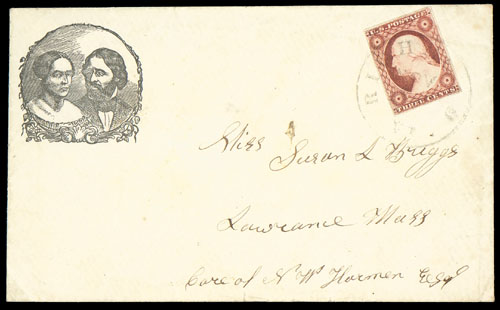 An envelope bearing the dual image of the Fremonts used by his 1856 supporters during his campaign for the presidency.