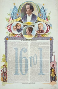 The 1896 campaign poster using Mary Bryan, with her husband and children. (original source unknown)