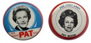 Pat Nixon's appearance had changed from the 1960 campaign (left) to the one in 1968 (right). (private collection)