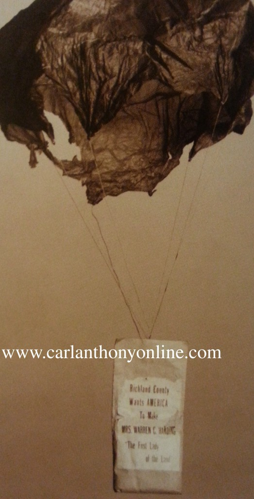 """One of the surviving paper parachutes dropped with the small sandbag, declaring """""""