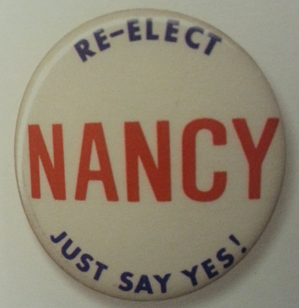 A 1984 Reaan re-election button referencing the First Lady Nancy Reagan's famous project. (ebay)