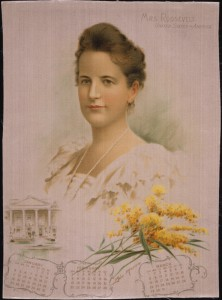 A1904 silk calendar printed with an image of Edith Roosevelt. (Smithsonian)
