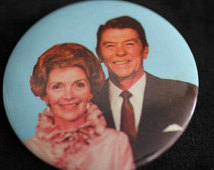 A pro-Reagan button depicting the First Couple (etsy.com)