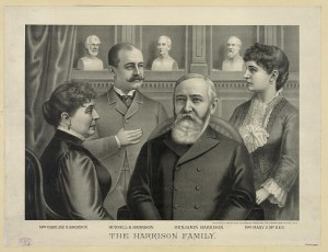 During the 1888 campaign Kurz made print of Benjamin and Caroline Harrison, but released this second printing version after the election but before the inauguration, with the infusion of their adult children who it was publicly disclosed would be living in the White House with their parents, and their own small children. (Library of Congress)