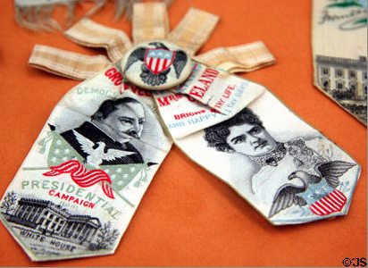 Frances Cleveland appeared on an 1892 campaign double-ribbon. (JimSteinhart copyright 2011)