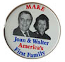 Joan Mondale appeared on only one known button, as a partner to her husband. (amres.com)
