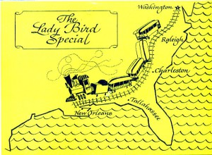 A postcard outlining the itinerary schedule of the  1964 Lady Bird Special.