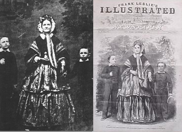 The December 1860 Leslie's Illustrated Newspaper front cover image and the original photograph of Mary Lincoln with her sons Willie and Tad that was used for the adapted engraving. (carlanthonyonline.com)