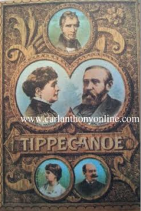 Caroline Harrison was included in an 1888 campaign poster depicting multi-generations of her husband's family, including their two adult children and his grandfather, the late President William Henry Harrison. (carlanthonyonline.com)