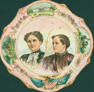 A paper plate made to appear like china carried the images of both Ida McKinley and Mary Bryan, along with images of their homes. It may have been used as a fan. (Historic New England)
