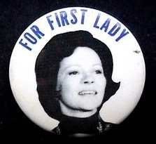 Despite being relatively unfamiliar to the public in 1976, this button made simple use of Rosalyn Carter's facial image to convey support for her husband's presidential bid. (ebay)